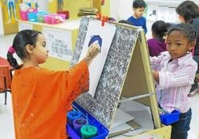 Pre-K students at the Pottstown High School who are part of the PEAK program or Pottstown Early Action for Kindergarten Readiness work on paintings and drawings. PEAK is one of the organizations part of a Pottstown initiative to inform the community about the effects of traumatic childhood experiences such as neglect and divorced parents. Digital First Media File Photo