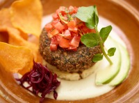 This November 2016 photo provided by The Culinary Institute of America shows baked falafel in Hyde Park, N.Y. This dish is from a recipe by the CIA. (Phil Mansfield/The Culinary Institute of America via AP)
