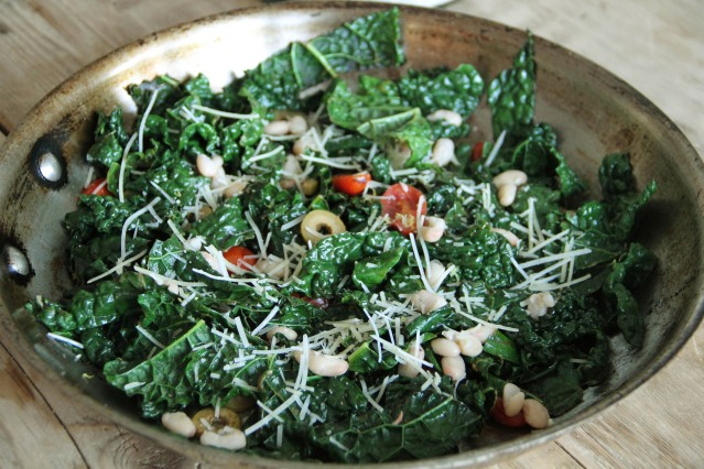 Food Healthy Kale With Olives And Beans