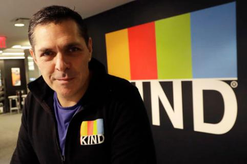 "In this Monday, Feb. 6, 2017, photo, Kind CEO Daniel Lubetzky poses for a photo at his office, in New York. Lubetzky is pledging $25 million over the next 10 years to create a nonprofit dedicated to ""revealing and countering"" the food industry's influence on public health. The move underscores the division between ""Big Food"" companies and newer players that market themselves as wholesome alternatives aligned with public health. (AP Photo/Mark Lennihan)"