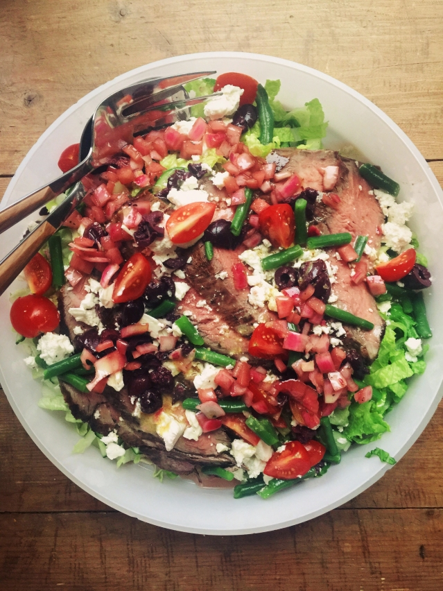 Food Deadline Greek Salad with Flank Steak