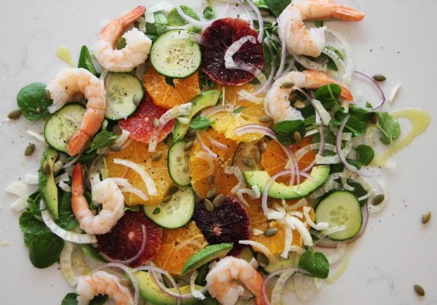 Food Healthy Orange and Cucumber Salad